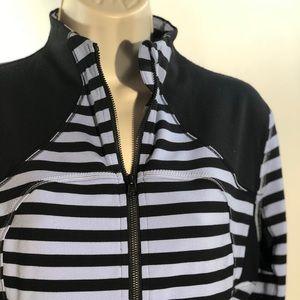 Lulemon Fitted Jacket Sz 10 Purple Black Stripes